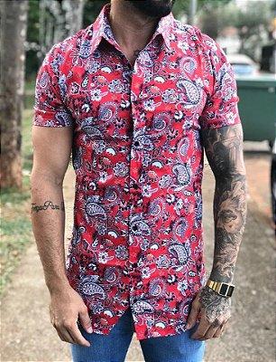 Camisa Manga Curta Floral Red - Grace