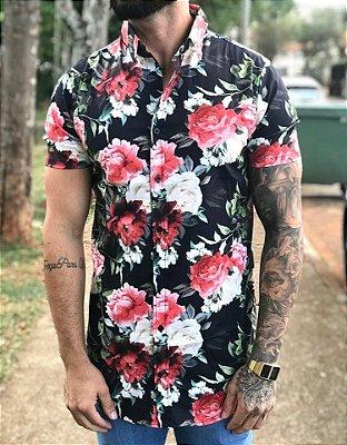 Camisa Manga Curta Floral Colors - Grace