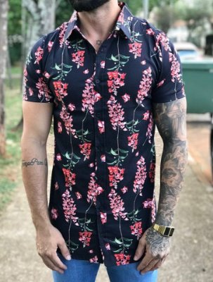 Camisa Manga Curta Flores Black/Red - Grace