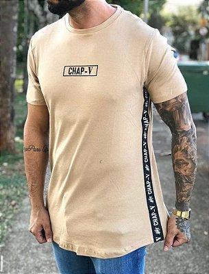 Camiseta Longline Bege Faixa Lateral - Chap-V