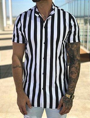 Camisa Manga Curta Listrada Black&White - Lacapa