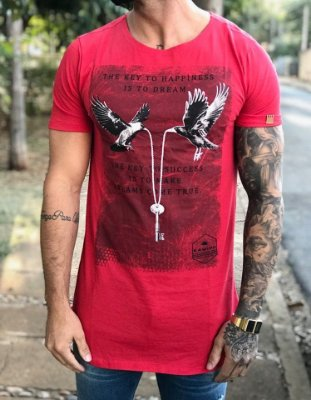 Camiseta Longline Doves Red - Kawipii
