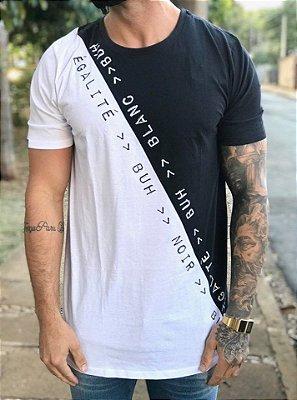 Camiseta Longline Diagonal Black&White - Buh