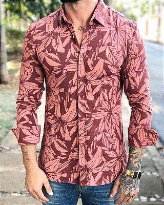 Camisa Manga Longa Floral Vermelha - Zip Off