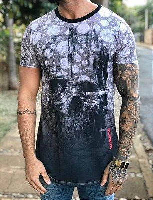 Camiseta Longline Skull Bubbles - Evoque