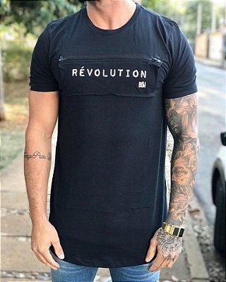 Camiseta Longline Révolution Zíper Black - Buh