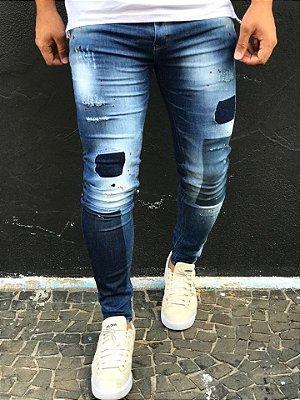 Calça Jeans Skinny Dest Used & Respingos - Zip Off