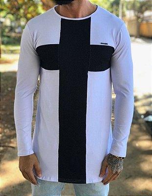 Camiseta Manga Longa Longline Cross White - Kawipii