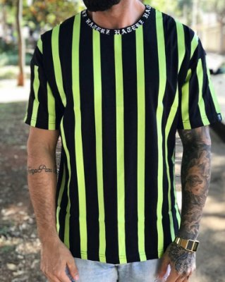 Camiseta Over Strip Green - Haterz