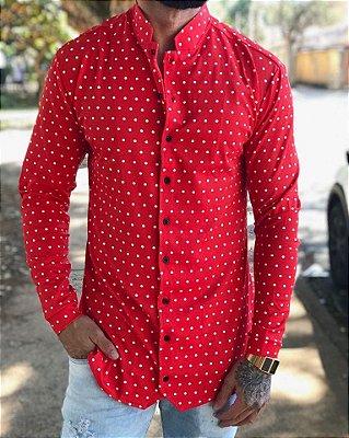 Camisa Manga Longa Poá Vermelha - Exalt Urban