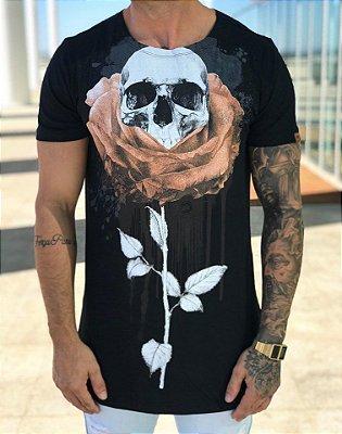 Camiseta Longline Rose Skull Black - Kawipii