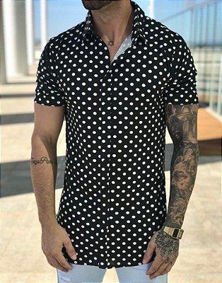 Camisa Manga Curta Poá Black - Exalt Urban