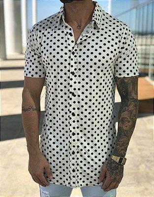 Camisa Manga Curta Poá Off White - Exalt Urban