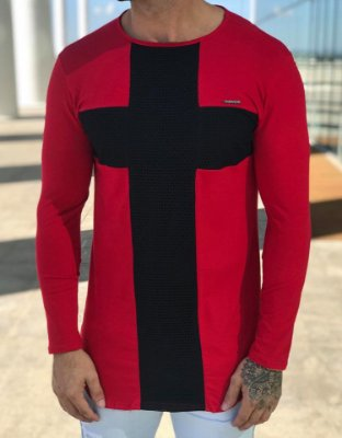 Camiseta Manga Longa Cross Red - Kawipii