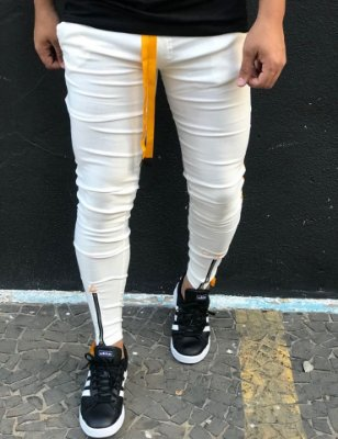 Calça Bengaline Off White One Stripes Yellow - Lacapa