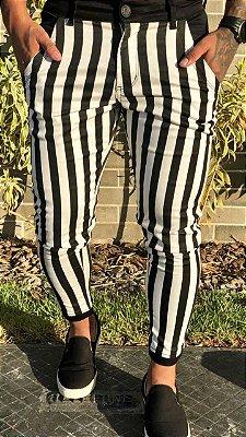 Calça Skinny Listrada Black White - Codi Jeans