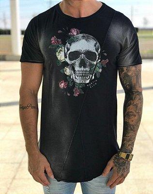 Camiseta Longline Estonada Skull Black - Austin Club