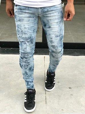 Calça Jeans Skinny Basic Tie Dye Blue - Zip Off
