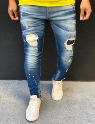 Calça Jeans Skinny Destroyed Dirty Ferrugem - City Denim