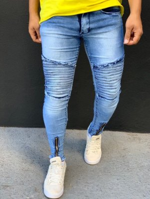 Calça Jeans Skinny Light Blue Biker - Kawipii