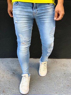 Calça Jeans Skinny  Destroyed Clear - Degrant