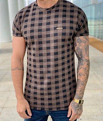 Camiseta Longline Xadrez Coffee Details - FB Exclusive Clothing