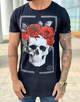 Camiseta Longline Square Skull Roses Black-Kawipii