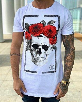 Camiseta Longline Square Skull Roses White - Kawipii