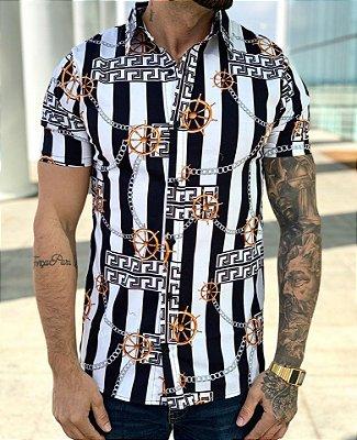 Camisa Manga Curta Stripes & Chains - Grace