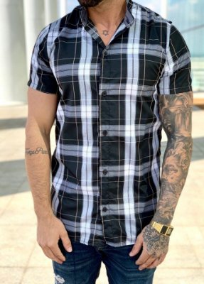 Camisa Manga Curta Xadrez Black - Lacapa