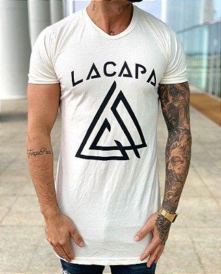 Camiseta Longline Logo Off White - Lacapa