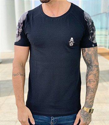 T-shirt Raglan Skull Strass Black - FB Exclusive Clothing