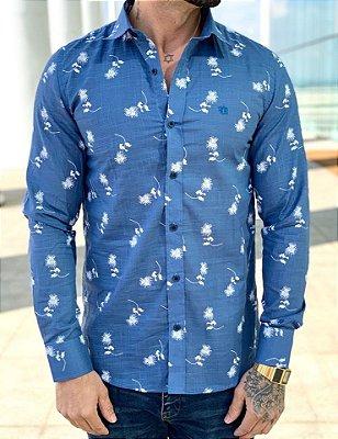Camisa Manga Longa Blue Flowers - FB Exclusvie Clothing