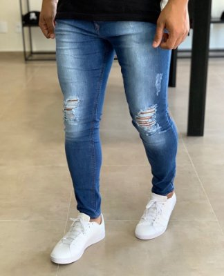 Calça Jeans Skinny Destroyed Cotonete - Zip Off