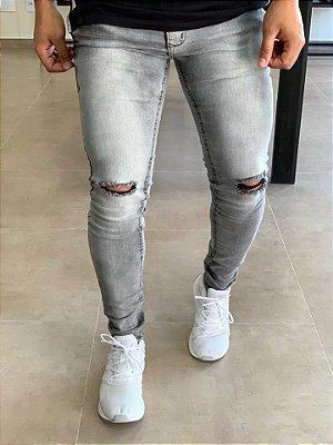 Calça Jeans Skinny Sky Bleach Rasgo no Joelho - Zip Off