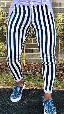 Calça Skinny Listrada Blue White - Codi Jeans