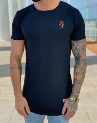 Camiseta Longline Rose Black - Kreta