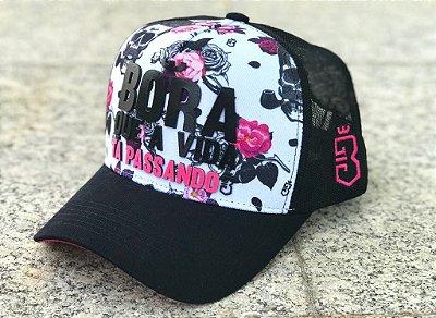 Boné Trucker Skull Flowers - Bora