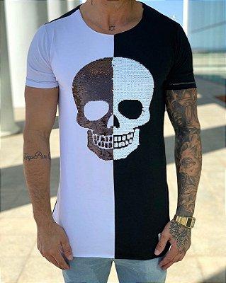 T-Shirt Long Meio a Meio Paetê - John Jones