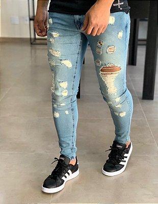Calça Jeans Skinny Destroyed Vintage 10 - Zip Off