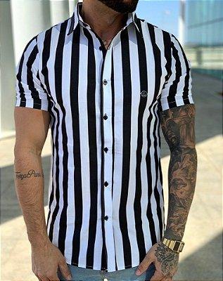 Camisa Manga Curta Listrada BlackWhite - Exalt Urban