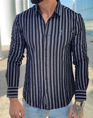 Camisa Manga Longa Listrada Preto - Zip Off