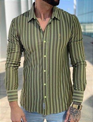 Camisa Manga Longa Listrada Verde Musgo - Zip Off
