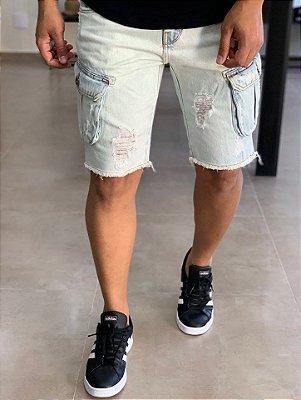 Bermuda Jeans Bolso Cargo Marmorizado - Degrant