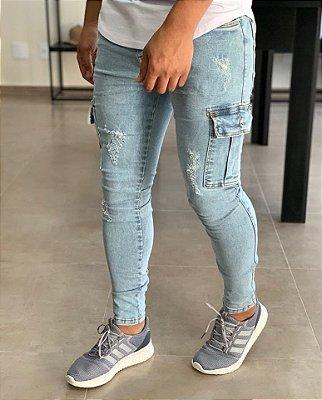 Calça Jeans Skinny Destroyed Claro Bolso Cargo - Degrant