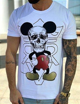 T-Shirt Long Mickey Skull Face White - Riviera Clothing