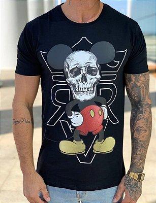 T-Shirt Long Mickey Skull Face Black - Riviera Clothing