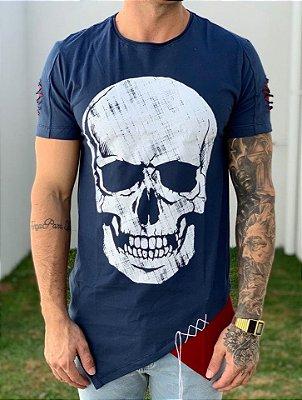Camiseta Longline Caveira Detalhe Lateral - King Joy