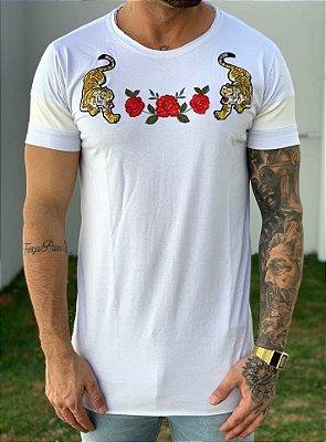 Camiseta Longline White Tiger And Roses - John Jones