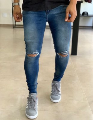 Calça Jeans Medium Skinny Rasgo no Joelho - City Denim